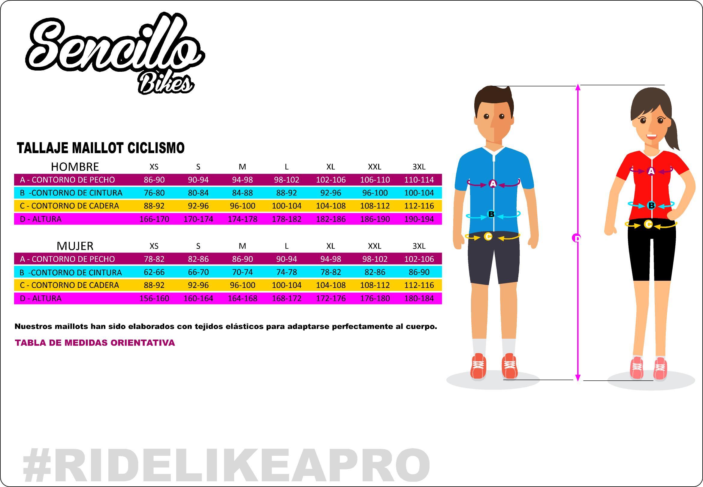 medidas de refrencia para maillots y chaquetas de ciclismo